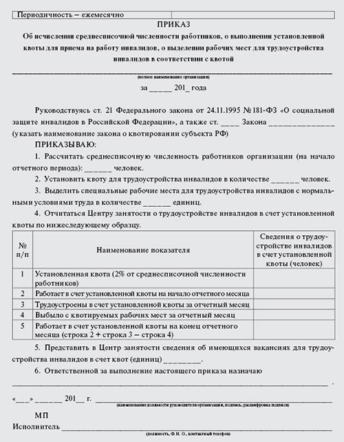 приказ об установлении квоты для приема на работу инвалидов образец